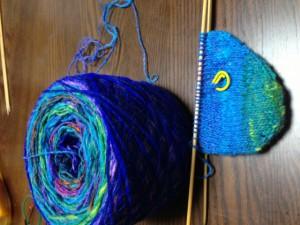 40靴下編みかけ